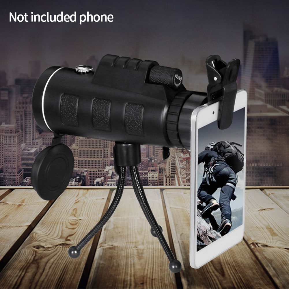 Fishing With Tripod Hiking Sightseeing Camera Telescope Set Outdoor Monocular Traveling HD Phone Clip Zoom Lens Camping Adults
