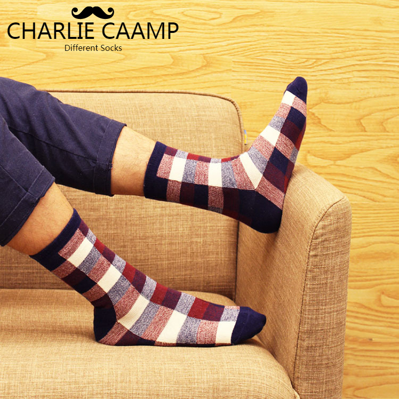 CHARLIE CAAMP 2018 New Cotton British Wind Small Square Business Casual Trend Series Mens Crew Socks 6014