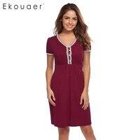 Ekouaer Brand Casual Nightwear Summer V Neck Slim Solid Sleepwear Women Lace Trimmed Short Sleeve Button