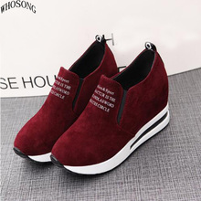 WHOSONG Women Loafers shoe Women Height Increasing Breathable Wedges Sneakers Platform Shoes Canvas Woman Casual Shoes M45 2017 new fashion platform hidden wedges canvas casual shoes height increasing women beading lace up breathable shoe thick bottom