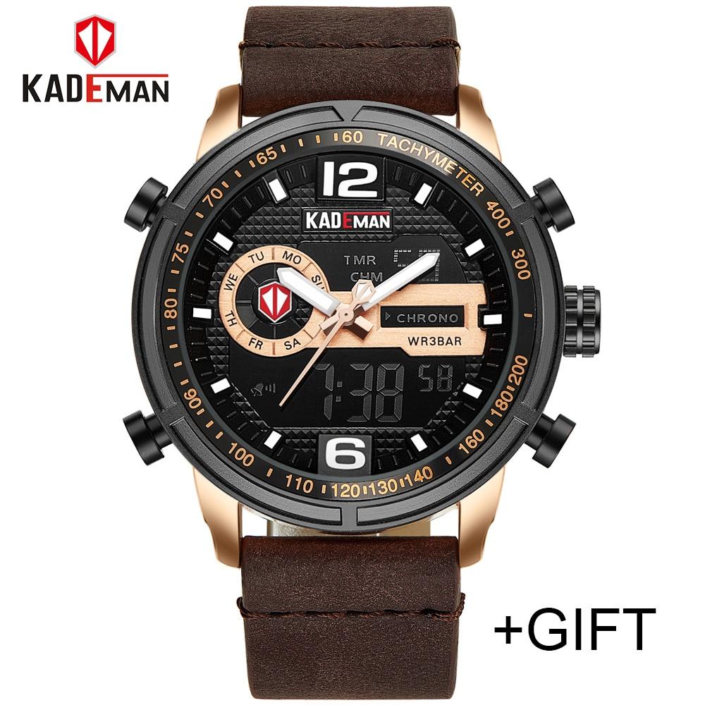 2018 KADEMAN Luxury Full Steel Men Waterproof Sport Watch Men's Quartz Digital Clock Leather Man Wrist Watch Relogio Masculino iron man digital led steel band digital quartz wrist watch for man