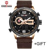 2018 KADEMAN Luxury Full Steel Men Waterproof Sport Watch Men's Quartz Digital Clock Leather Man Wrist Watch Relogio Masculino