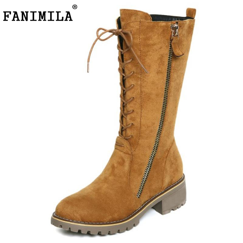 FANIMILA  Fashion Women Mid-Calf Boots Round Toe Cross Strap Side Zipper Shoes Women Winter Warm Short Plush Boots Size 34-42 riding boots chunky heels platform faux pu leather round toe mid calf boots fashion cross straps 2017 new hot woman shoes