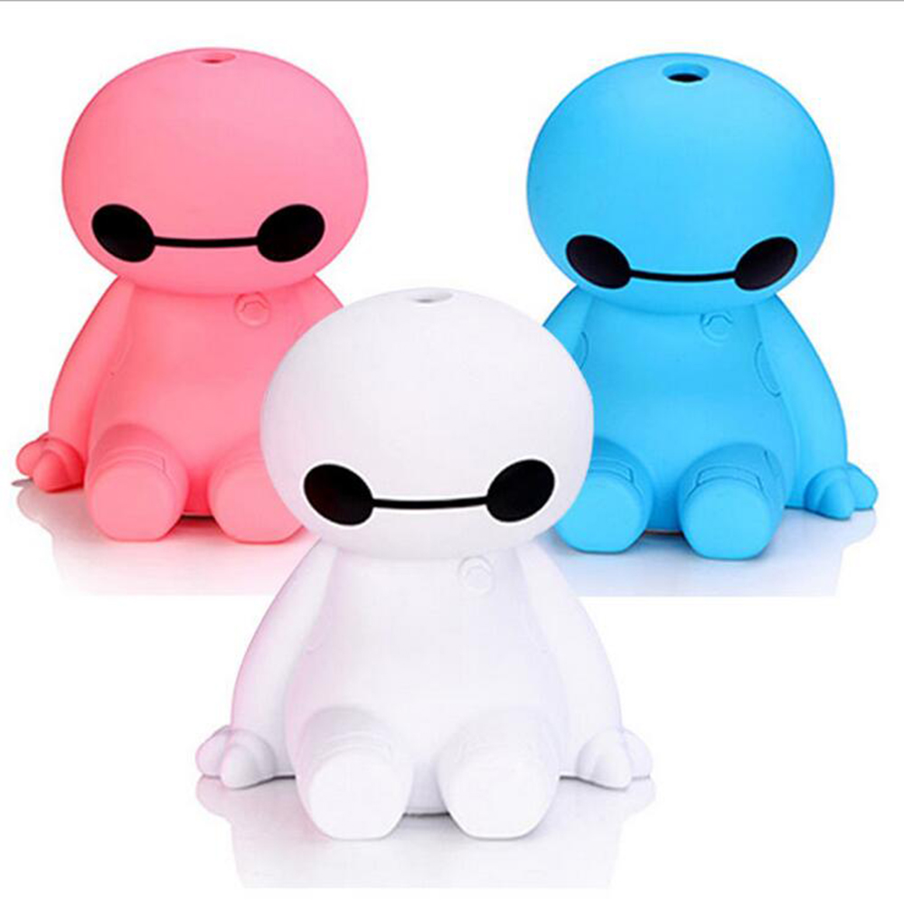 Купить с кэшбэком 120ML USB Big Hero Baymax Dry Protect Ultrasonic Essential Oil Aroma Diffuser Air Humidifier Mist Maker for Home Office