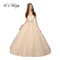 It S YiiYa Light Pink Popular Sleeveless Strapless Wedding Frocks Simple Crystal Satin Sashes Quality Backless