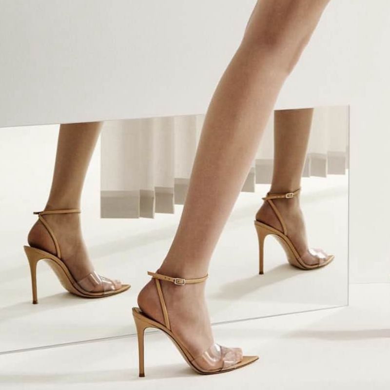 2018 new design brand Names names women's open toe transparent a simple classic sandals party woman shoes wearing heels nude 8.5
