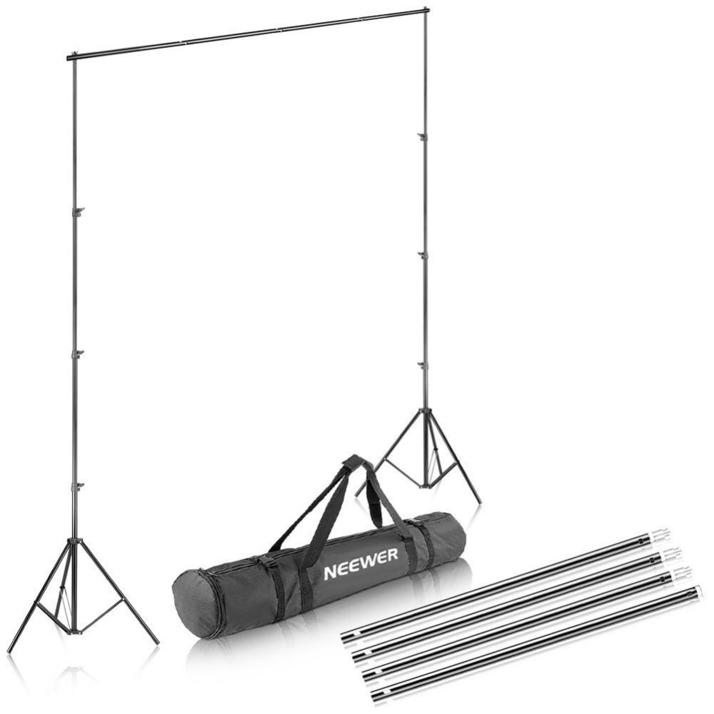 Neewer Background Stand Support System 2.6M x 3M/8.5ft x 10ft Kit with Carrying Case for Muslins Backdrops,Paper and Canvas lightdow 2x3m 6 6ftx9 8ft adjustable backdrop stand crossbar kit set photography background support system for muslins backdrops