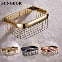 Whole brass bathroom golden paper holder paper basket shelf tissue paper holder rack antique hand paper holder bathroom shelf