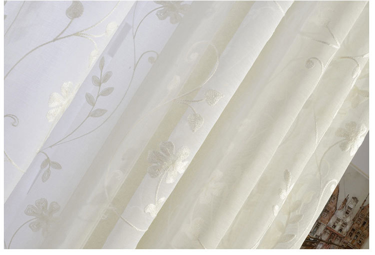 free shipping finished white cotton embroidered voile curtains for ...