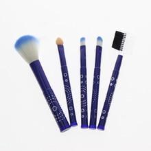 5Pcs/Set Blue Aluminum Handle Makeup Brush Set Include Eyebrow Comb Blush Brush Applicator 2 Eye Shadow Blending Brushes
