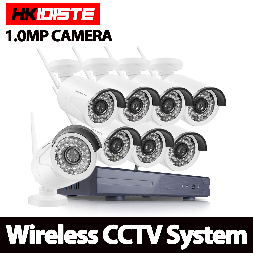HKIXDISTE 8ch 720p Wifi NVR 1TB HDD with 8pcs 1.0MP Waterproof IR Bullet Wireless IP HD Camera/Wireless CCTV system kit 5 8g 1 0 mp 1 4 color cmos 4ch 720p wifi 1 nvr with 4 pcs waterproof ir bullet wireless ip camera wireless cctv system kit
