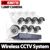HKIXDISTE 8ch 720p Wifi NVR 1TB HDD With 8 Pcs Waterproof IR Bullet Wireless IP HD
