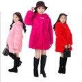 2016 Meninas com crianças de pele Rex casaco de pele de coelho realmente casaco de pele chapéu do inverno grosso longo-manga longa seção