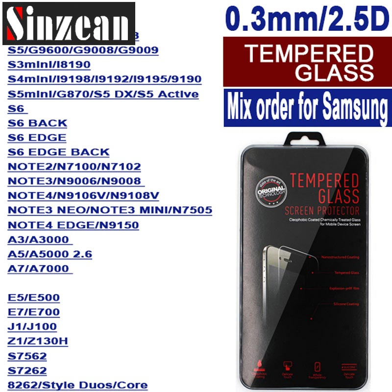 Sinzean 100PCS mixed order For Samsung J4 J6 tempered glass For Galaxy s9 s8 plus A5