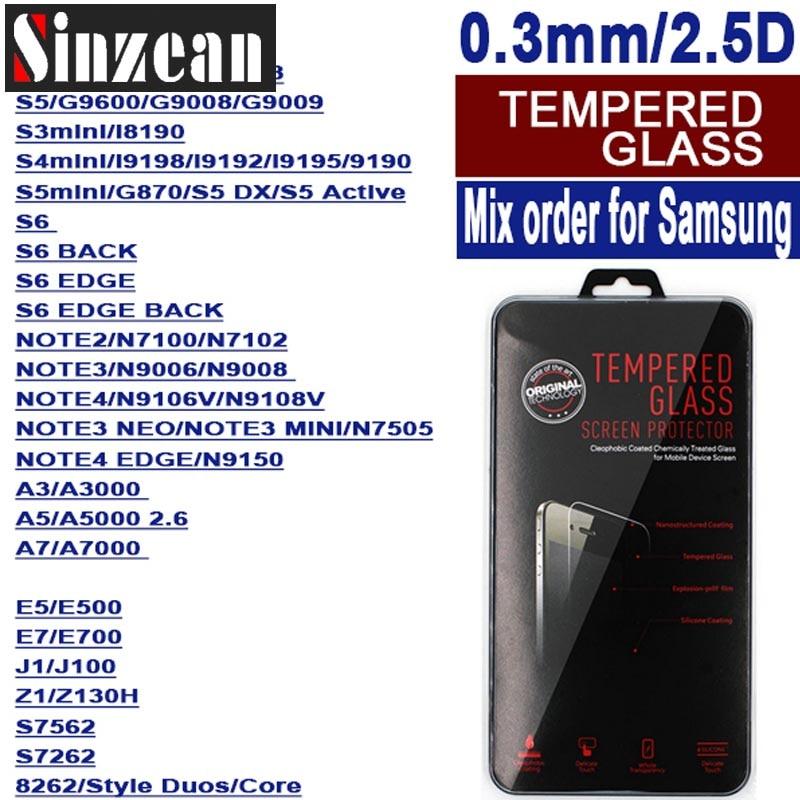 imágenes para Sinzean 100 unids orden mezclada para samsung protector de vidrio templado s8/s8 plus/a5/a7/a9/core primer/grand neo/neo note3/grand 2
