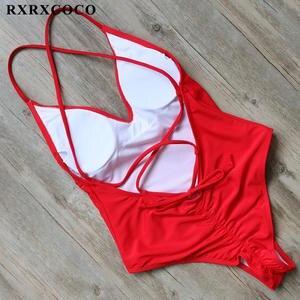 869082419c RXRXCOCO Swimsuits Women 2017 One Pieces Halter Bandage Swimming Suit