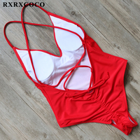 RXRXCOCO One Pieces Swimsuits Women 2017 Solid Swimwear Female Padded Bathing Suit Halter Bandage Swimming Suit