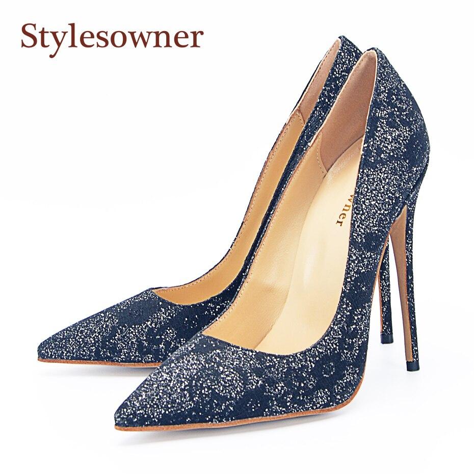 Stylesowner 120mm 105mm Dame Schwarz Sexy Kleid Schuhe Spitze Zehen Klassische Mode Spitze Neue Ankunft Frauen Muss Haben einzelnen Schuh