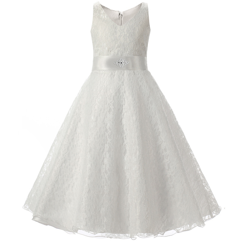 Simple White Navy Blue Children Christening Dress Ivory for 4 To 15 Years Rustic Lace Wedding Flower Girls Party Dresses Size 12