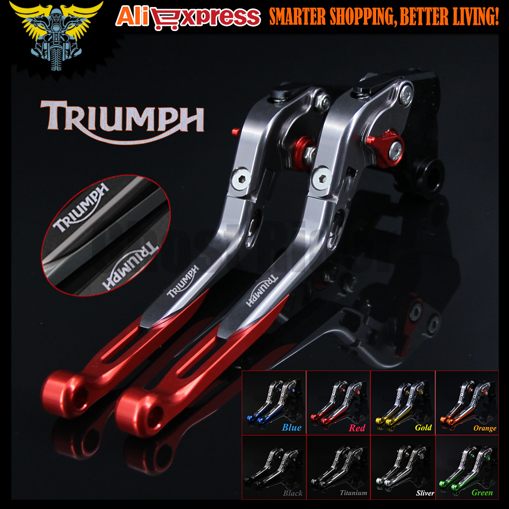 Red+Titanium 8 Colors CNC Adjustable Folding Extendable Motorcycle Brake Clutch Levers For Triumph SPEED TRIPLE 1050/S 2016 brand cnc aluminum folding extendable six speed adjustable motorcycle brake clutch levers universal for yamaha bws 125 cygnus x