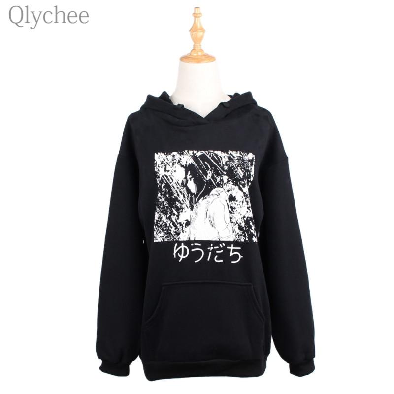 Qlychee BF Style Winter Black Women Hoodiess