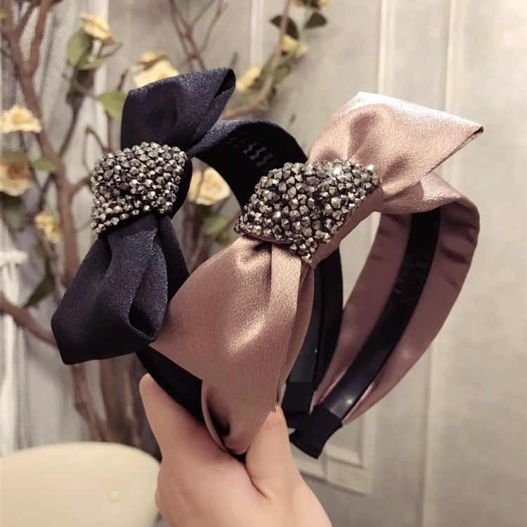 Details about  /For Women Solid Satin Hairband Korean Diamond Crystals Rhinestones Knot Boutique