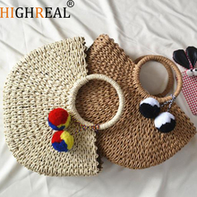 HIGHREAL 2019 New Summer Andmade Bags Women Pompon Beach Weaving Ladies Straw Bag Wrapped Beach Bag Moon Shaped Bag