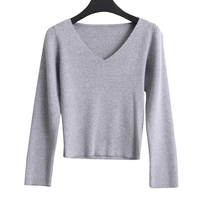 Sexy V Neck Crop Top Sweater Women Knitted Cashmere Wool Long Sleeve Casual Knitwear 2019 Korean Sweaters And Pullovers