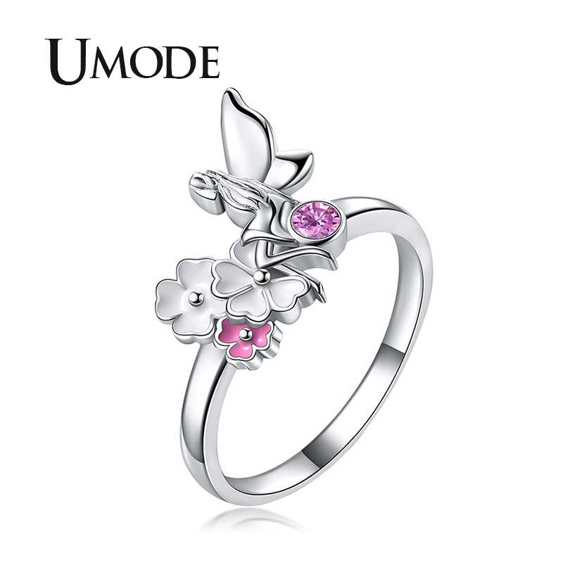 UMODE Angel Flower Rings for Women Engagement Promise Finger Rings Pink Crystal Wedding Silver Color Jewelry Accessories UR0508