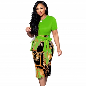 Женское элегантное офисное платье миди бодикон для девушек футболка с короткими рукавами и принтом с поясом, круглым вырезом, женские модны...