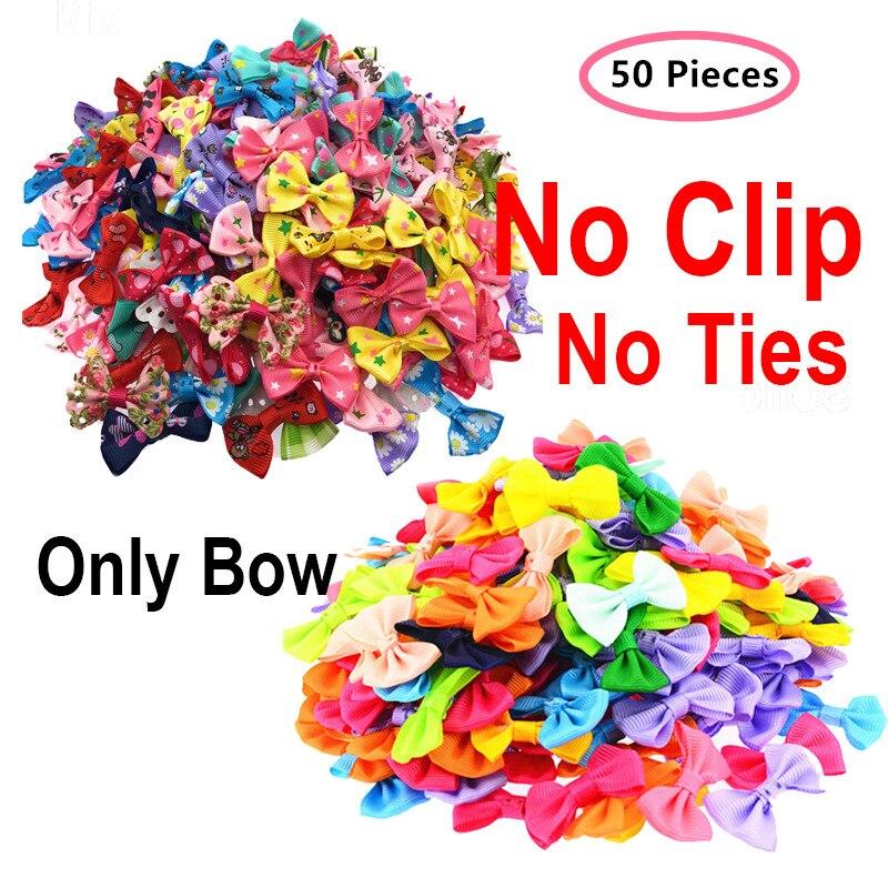 50 Pcs/lot ONLY BOW NO CLIPS DIY Wedding Decor Hair Accessories Mini Small Pringting Ribbon Bow Pet Bowknot Craft