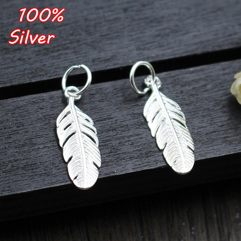 2pcs 100% S925 Sterling Silver DIY Handmade Beaded Bracelet Silver Pendant Feather Small Pendant Accessories