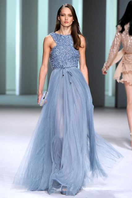 Elie Saab O Neck Floor length Lace and tulle perspective Evening ...