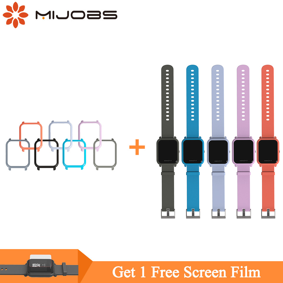 Mijobs 20mm Silicone Wrist Strap Protective Case Cover PC Shell For Huami Xiaomi Amazfit GTS Bip BIT PACE Lite Smart Watch