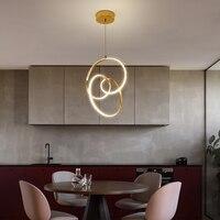 Золотой кулон светодиодные лампы обработки Nordic современный минималистский ресторан переплетены круглый алюминий акриловое освещение