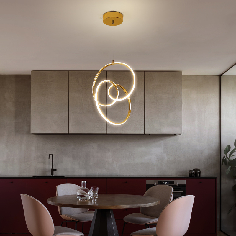 Golden pendant light Led processing  lamp Nordic modern minimalist restaurant intertwined round aluminum acrylic lighting