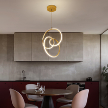 Golden pendant light Led processing  lamp Nordic modern minimalist restaurant intertwined round aluminum acrylic lighting