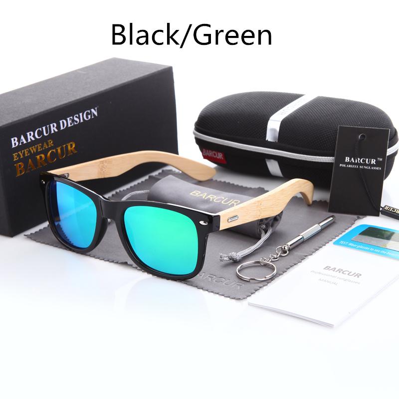 نظارة شمسية للرجال وللسيدات بعدسات بلورايزد واطار خشبي 3