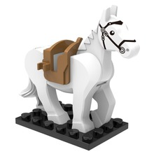 White Horse Black Ring Lingma Castle in Ancient Magic Ring DIY Dolls Building block font b