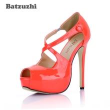 Batzuzhi 2018 New 14cm Sexy Women Platform Shoes Open Toe Stiletto Heels Pump for Party Cross Straps Dress