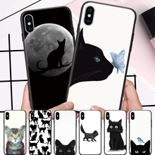 Particular Amiable Black cat Pattern For iPhone 5 5S SE 6 6S 7 8 Plus X XR XS Max Hard Phone Case