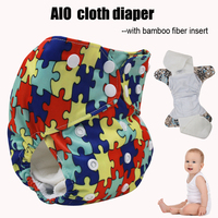 1 Pcs Free Shipping Baby Girls Boys AIO Cloth Diaper With Two Bamboo Fiber Insert Wateproof