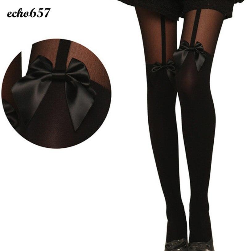 Hot New Fashion Echo657 Women Vintage Tights Bow Pantyhose Tattoo Mock Bow Suspender Sheer Stockings Nov 9 PY
