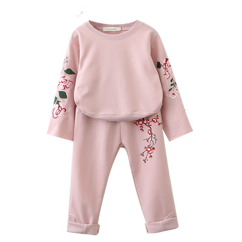 Kids Clothing Sets Embroidery Flower Long Sleeve T-Shirt + Floral Pants 2Pcs Casual Sport Children Set Baby Clothes Suits