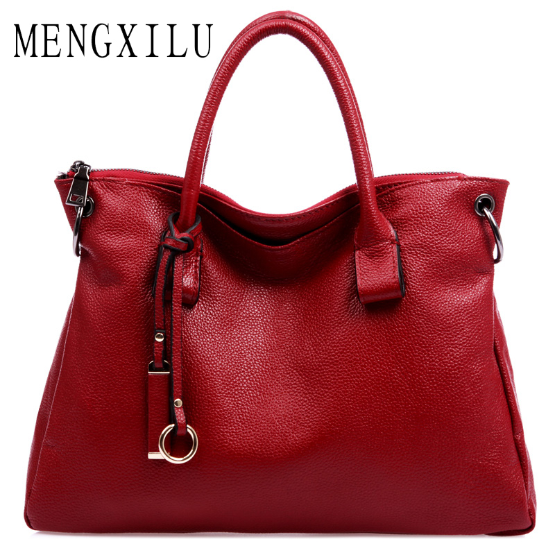 MENGXILU Luxury Handbags Women Bags Designer New Fashion Genuine Leather Women Bag Famous Brand Shoulder Bags Cow Leather Big fashion leather women shoulder big bag genuine leather cowskin paste brand luxury leather message women bag 7 colors p1006a
