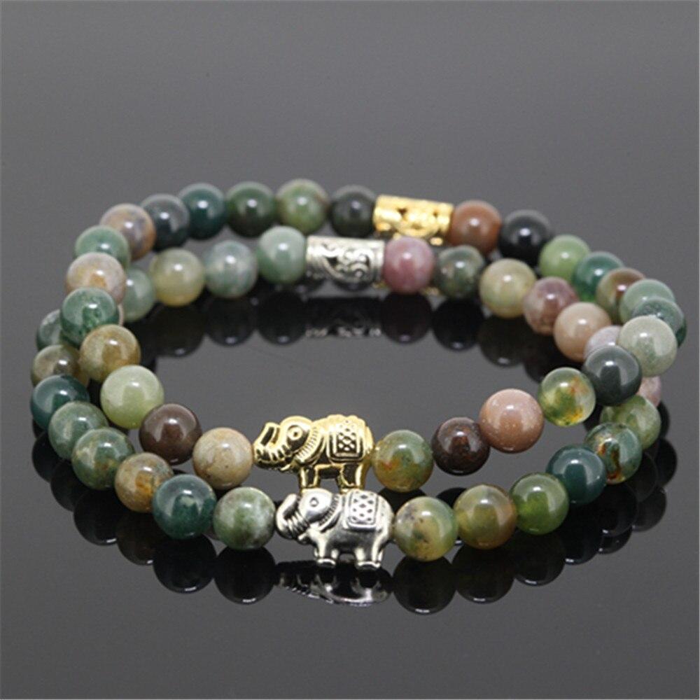 Silver Color Elephant Animals Charm Girl Bracelet Natural  6mm Indian Stone Stone Beads Women Bracelet