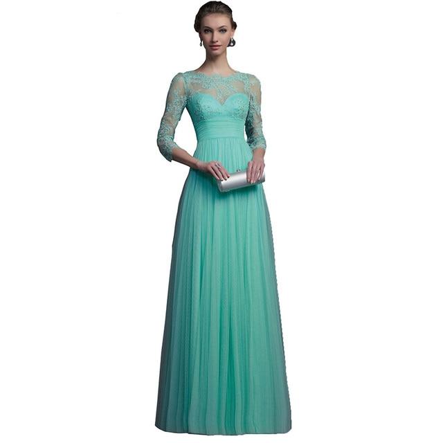 809e038fe € 80.12  Eelgant Menta Verde Vestidos de Noche de Baile Vestido Formal de  Cuello Alto de Encaje de Tul Volver Cremallera Piso Vestidos De Fiesta en  ...