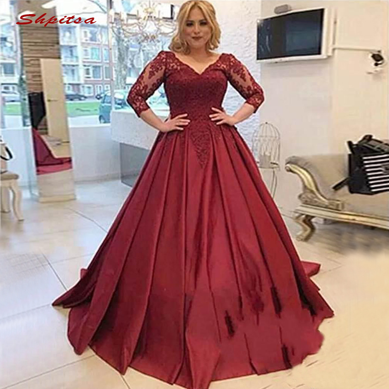 Long Sleeve Lace Evening Dresses Party Sexy Beaded Satin Red Plus Size Ladies Women Formal Dresses Evening Gown