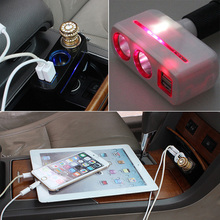 Cigarette Lighter, Dual USB, Car Charger Splitter Car-styling