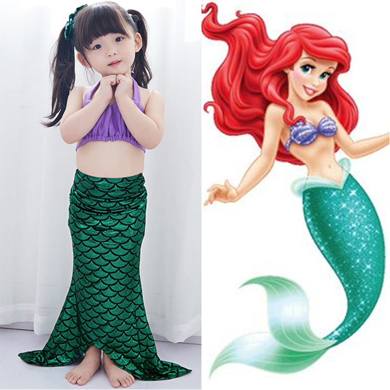Fancy Cosplay Costume 4pcs Girl Kids Mermaid Tail Swimmable Bikini Set Mermaid Ariel Princess Bathing Suit Mermaid Costume 2-14T